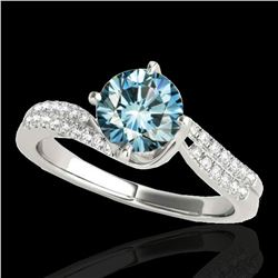 1.2 ctw SI Certified Fancy Blue Diamond Bypass Ring 10k White Gold - REF-121A4N