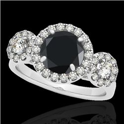 1.75 ctw Certified VS Black Diamond Solitaire Halo Ring 10k White Gold - REF-65G9W