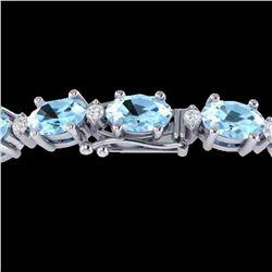 21.2 ctw Aquamarine & VS/SI Diamond Eternity Bracelet 10k White Gold - REF-263Y6X