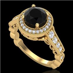 1.91 ctw Fancy Black Diamond Engagment Art Deco Ring 18k Yellow Gold - REF-130R9K