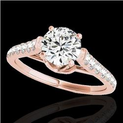 1.46 ctw Certified Diamond Solitaire Ring 10k Rose Gold - REF-182W8H