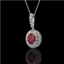 4.67 ctw Certified Ruby & Diamond Victorian Necklace 14K White Gold - REF-136H5R