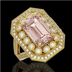 6.08 ctw Certified Morganite & Diamond Victorian Ring 14K Yellow Gold - REF-226K4Y
