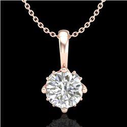 0.62 ctw VS/SI Diamond Solitaire Art Deco Stud Necklace 18k Rose Gold - REF-101X8A
