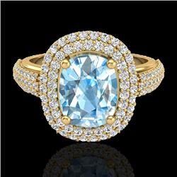 3.50 ctw TOPAZ & Micro Pave VS/SI Diamond Certified Ring 10k Yellow Gold - REF-94K9Y