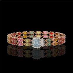19.34 ctw Sapphire & Diamond Bracelet 14K Rose Gold - REF-236H4R
