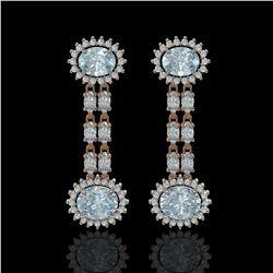 7.75 ctw Aquamarine & Diamond Earrings 14K Rose Gold - REF-227G3W