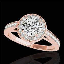1.45 ctw Certified Diamond Solitaire Halo Ring 10k Rose Gold - REF-197X8A