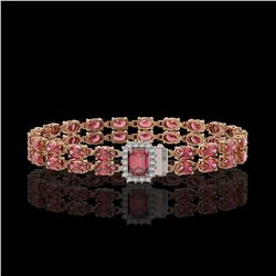 16.97 ctw Tourmaline & Diamond Bracelet 14K Rose Gold - REF-236Y4X