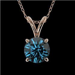 0.73 ctw Certified Intense Blue Diamond Necklace 10k Rose Gold - REF-54K2Y