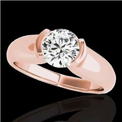 1 ctw Certified Diamond Solitaire Ring 10k Rose Gold - REF-177G3W