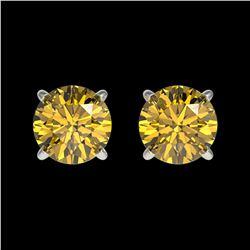 1.08 ctw Certified Intense Yellow Diamond Stud Earrings 10k White Gold - REF-95G3W