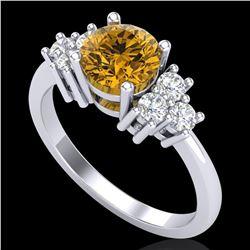 1.25 ctw Intense Fancy Yellow Diamond Art Deco Ring 18k White Gold - REF-209R3K