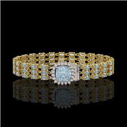 29.89 ctw Sky Topaz & Diamond Bracelet 14K Yellow Gold - REF-281R8K
