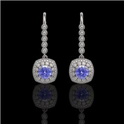 5.2 ctw Certified Tanzanite & Diamond Victorian Earrings 14K White Gold - REF-172X8A