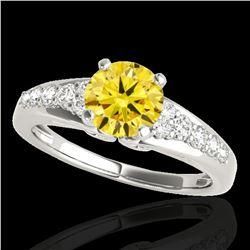 1.40 ctw Certified SI/I Fancy Intense Yellow Diamond Ring 10k White Gold - REF-190A9N