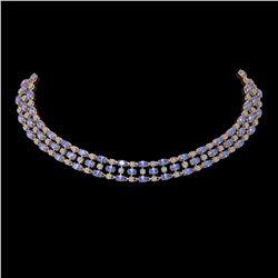 58.85 ctw Tanzanite & Diamond Necklace 10K Rose Gold - REF-709H3R