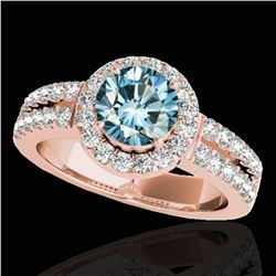 1.5 ctw SI Certified Fancy Blue Diamond Solitaire Halo Ring 10k Rose Gold - REF-163R6K