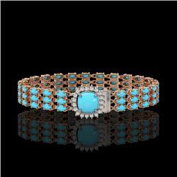 22.19 ctw Turquoise & Diamond Bracelet 14K Rose Gold - REF-281X8A