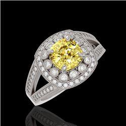 2.09 ctw Canary Citrine & Diamond Victorian Ring 14K White Gold - REF-83W6H