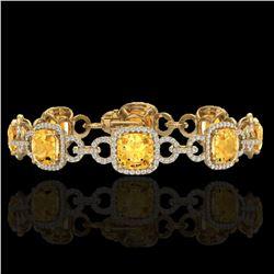 30 ctw Citrine & Micro VS/SI Diamond Certified Bracelet 14k Yellow Gold - REF-368Y9X