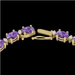 28 ctw Amethyst & VS/SI Diamond Certified Eternity Necklace 10k Yellow Gold - REF-146Y5X