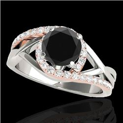 1.55 ctw Certified VS Black Diamond Bypass Solitaire Ring 10k 2Tone Gold - REF-55A5N