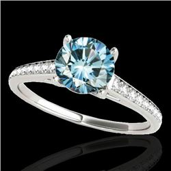 2 ctw SI Certified Fancy Blue Diamond Solitaire Ring 10k White Gold - REF-238F6M