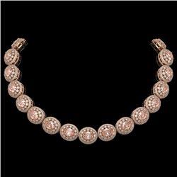 93.04 ctw Morganite & Diamond Victorian Necklace 14K Rose Gold - REF-3788H9R