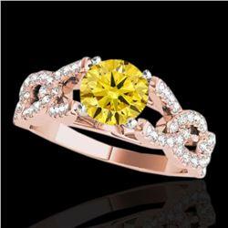 1.5 ctw Certified SI/I Fancy Intense Yellow Diamond Ring 10k Rose Gold - REF-177H3R