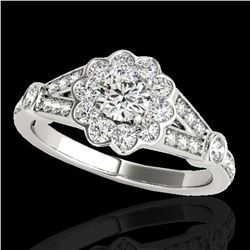 1.65 ctw Certified Diamond Solitaire Halo Ring 10k White Gold - REF-204K5Y