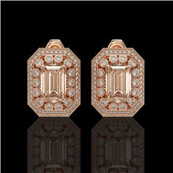 11.69 ctw Morganite & Diamond Victorian Earrings 14K Rose Gold - REF-381X5A