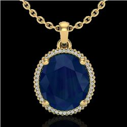 12 ctw Sapphire & Micro Pave VS/SI Diamond Necklace 18k Yellow Gold - REF-93N6F