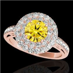 2.25 ctw Certified SI/I Fancy Intense Yellow Diamond Ring 10k Rose Gold - REF-245A5N
