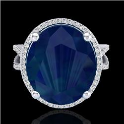 12 ctw Sapphire & Micro Pave VS/SI Diamond Ring 18k White Gold - REF-143R6K