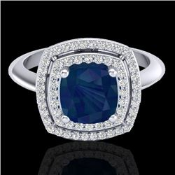 2.52 ctw Sapphire & Micro VS/SI Diamond Pave Ring 18k White Gold - REF-77K3Y