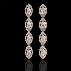 5.33 ctw Marquise Cut Diamond Micro Pave Earrings 18K Rose Gold - REF-739W6H