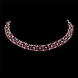 43.07 ctw Ruby & Diamond Necklace 10K White Gold - REF-527A3N
