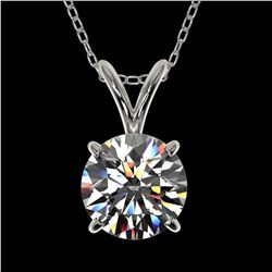 1 ctw Certified Quality Diamond Solitaire Necklace 10k White Gold - REF-141F3M