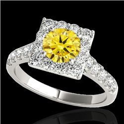 2.5 ctw Certified SI/I Fancy Intense Yellow Diamond Ring 10k White Gold - REF-313G6W