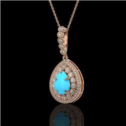 3.97 ctw Turquoise & Diamond Victorian Necklace 14K Rose Gold - REF-125H6R