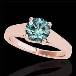 1 ctw SI Certified Fancy Blue Diamond Solitaire Ring 10k Rose Gold - REF-103H6R