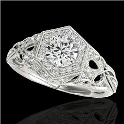 1.4 ctw Certified Diamond Solitaire Antique Ring 10k White Gold - REF-203A2N