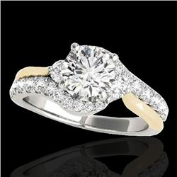 1.6 ctw Certified Diamond Bypass Solitaire Ring 10k 2Tone Gold - REF-211M4G