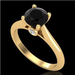 1.36 ctw Fancy Black Diamond Engagment Art Deco Ring 18k Yellow Gold - REF-66A8N