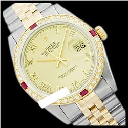 Rolex Ladies Two Tone 14K Gold/SS, Roman Dial & Diam/Ruby Bezel, Sapphire Crystal