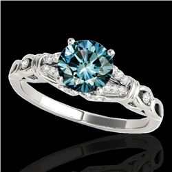 1.2 ctw SI Certified Fancy Blue Diamond Solitaire Ring 10k White Gold - REF-135K2Y
