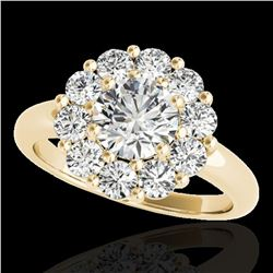 2.85 ctw Certified Diamond Solitaire Halo Ring 10k Yellow Gold - REF-395Y5X