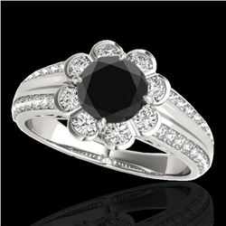 1.5 ctw Certified VS Black Diamond Solitaire Halo Ring 10k White Gold - REF-57X3A