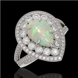 4.19 ctw Certified Opal & Diamond Victorian Ring 14K White Gold - REF-148R2K